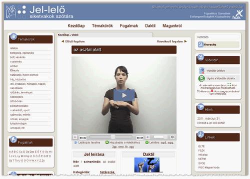 Jel-lelő portál képernyőképe