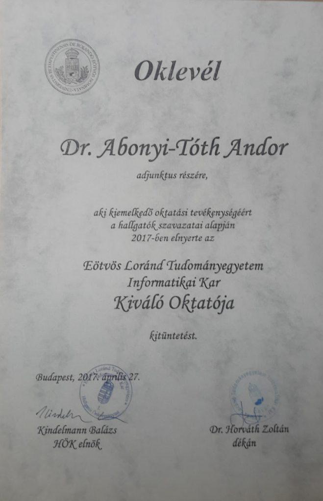Kar kiváló oktatója díj